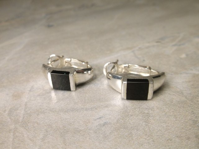 Gorgeous Sterling Silver Onyx Earrings