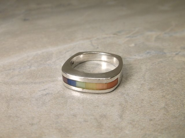 Beautiful Heavy Sterling Colorful Gemstone Ring 6