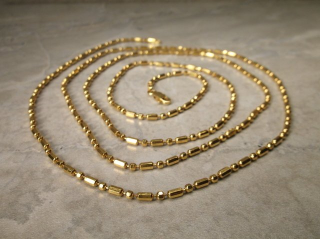 """New Gold Over Sterling Chain Necklace 40"""""""