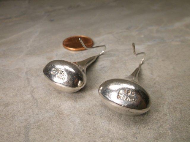 Huge Super Heavy Taxco Sterling Drop Earrings - 2