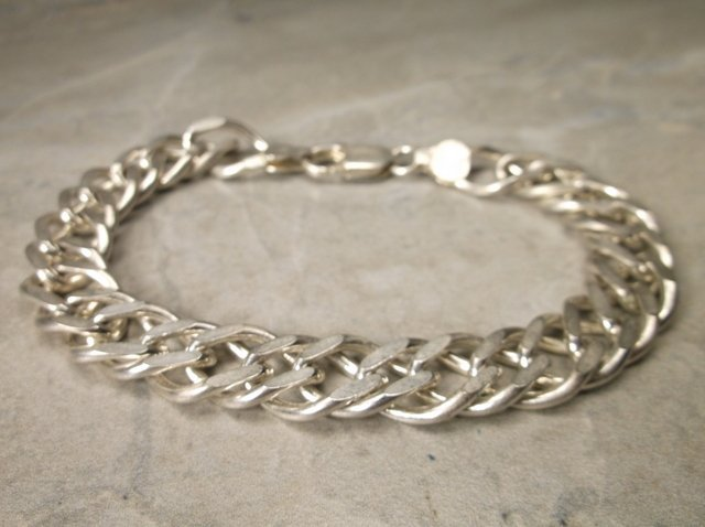 Gorgeous Very Heavy Sterling Chain Bracelet 8""