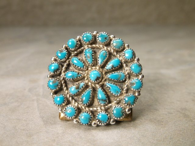Navajo Sterling Turquoise Squash Blossom Brooch