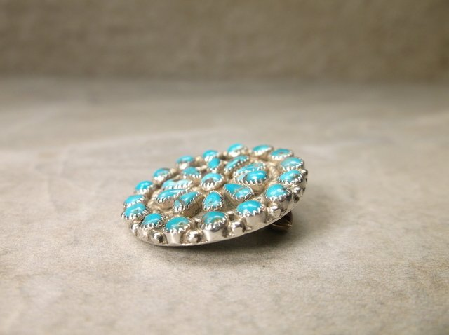 Navajo Sterling Turquoise Squash Blossom Brooch - 2