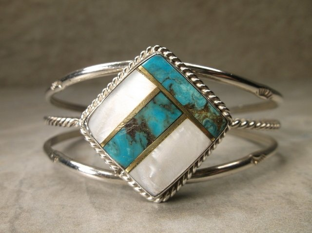 Stunning Large Navajo Sterling Turquoise Cuff Bracelet