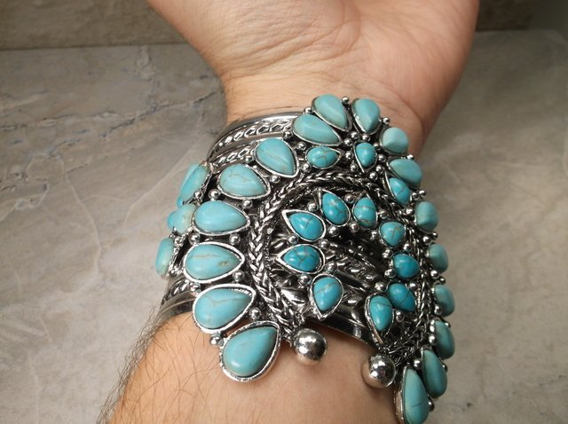 Gorgeous Huge Southwestern Squash Cuff Bracelet - 3