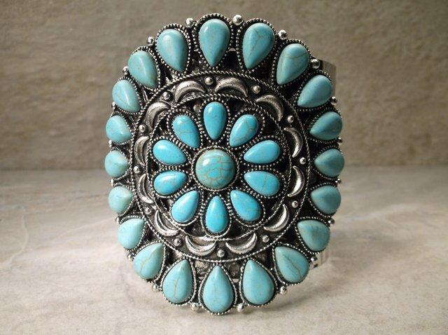 Gorgeous Huge Southwestern Squash Cuff Bracelet