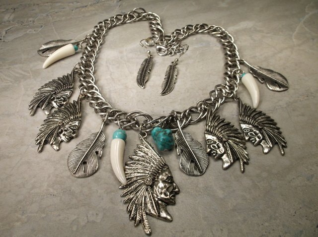 Gorgeous Southwestern Indian Chief Necklace Earrings