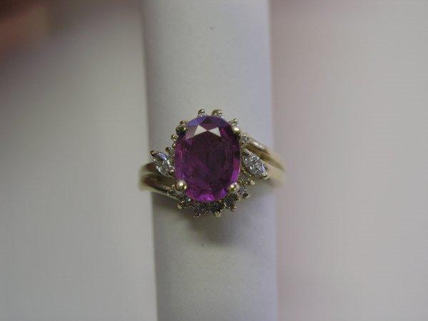 3049: 14K Gold, Pink Sapphire & Diamond Ring