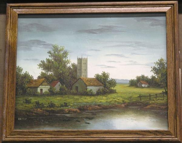 1: Framed oil on canvas, Farm with pond