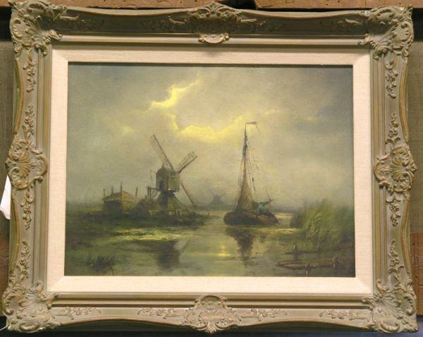 2: Framed oil on canvas, Dutch scene