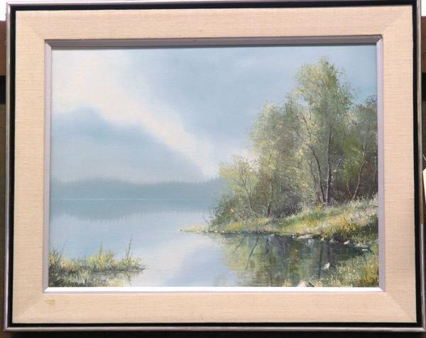 4: Framed oil on canvas, Lake Scene