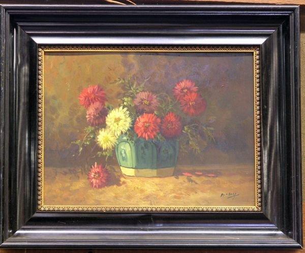 5: Framed oil on board, Floral still life