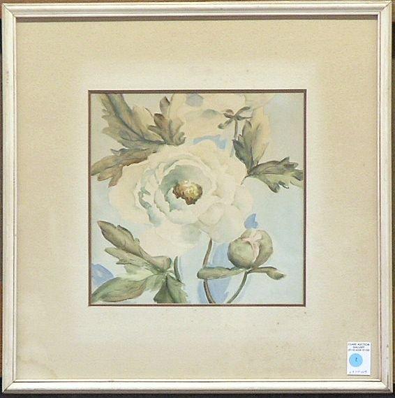 7: Watercolor, Peonies, signed Herbert