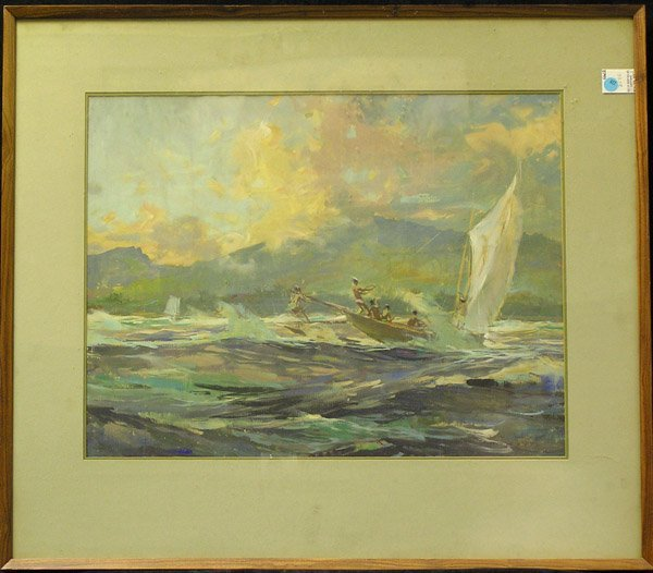 377: Gouache Boaters Tahiti Guy Huze