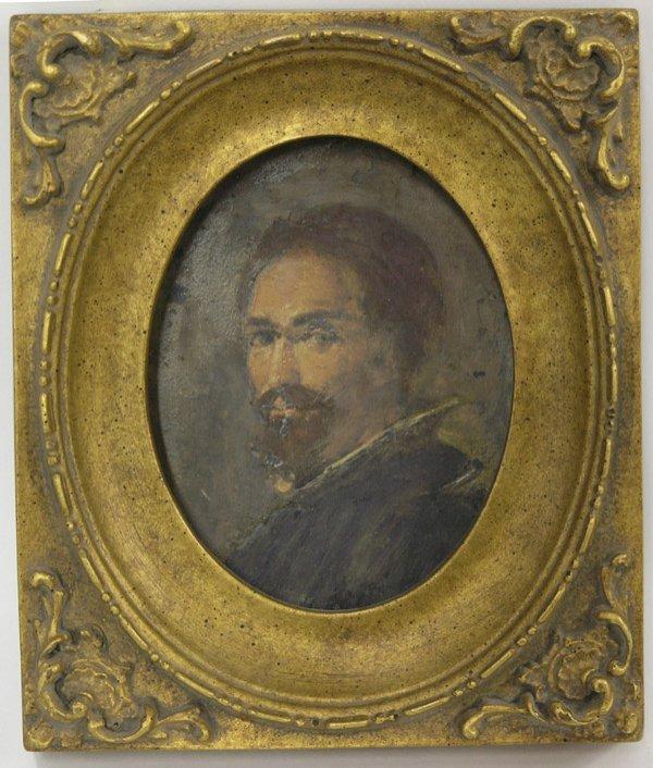 514: Painting Oil Portrait Slate Gentleman