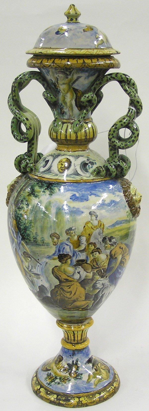 2023: Italain Deruta Faience Pedestal Urn