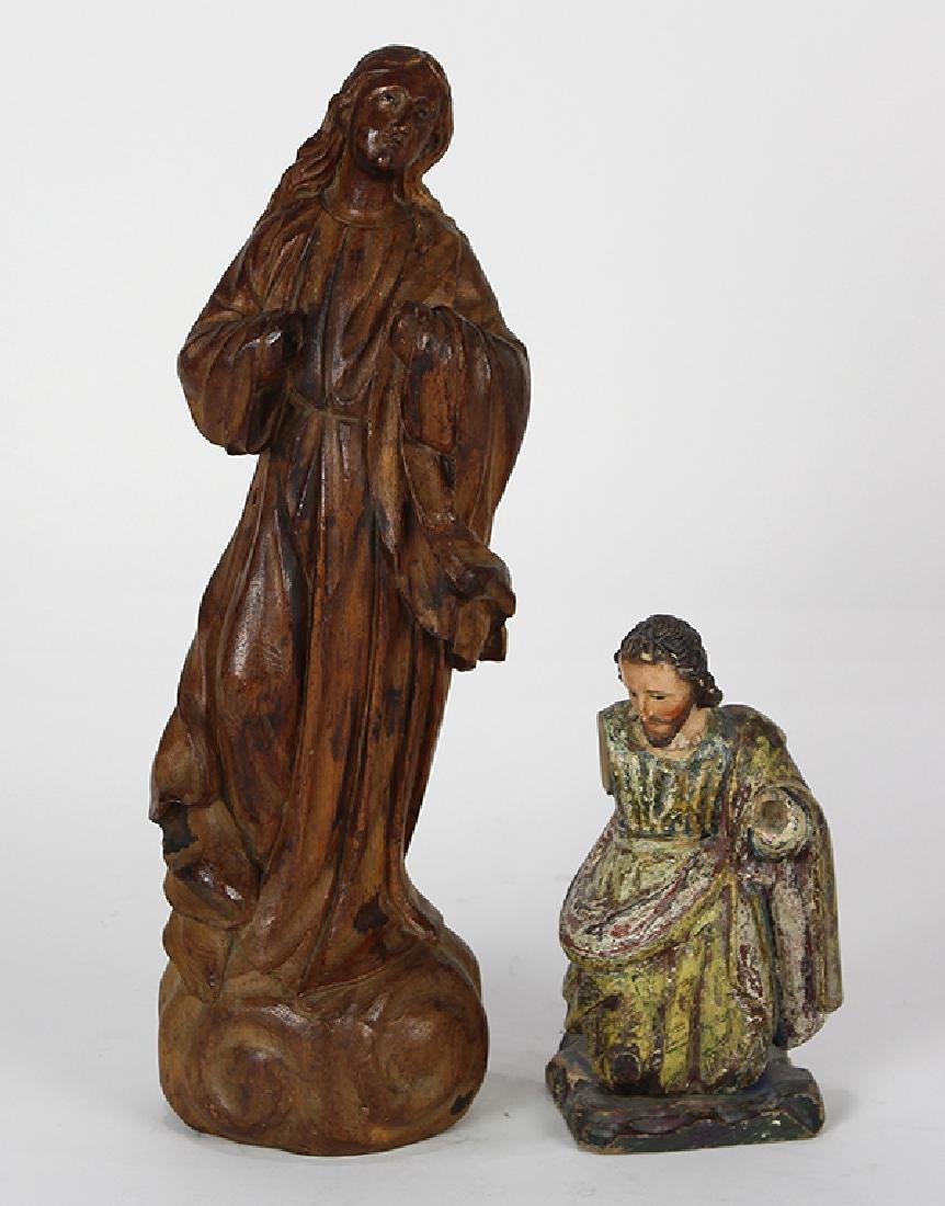 (lot of 2) Spanish Colonial carved wood Santos figures