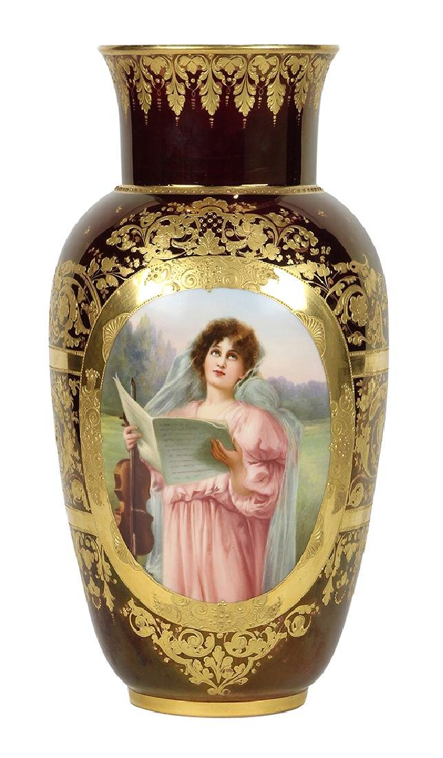 """Royal Vienna style hand painted urn titled """"Abendlied"""","""