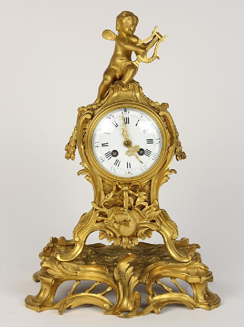 French Louis XV style gilt bronze clock