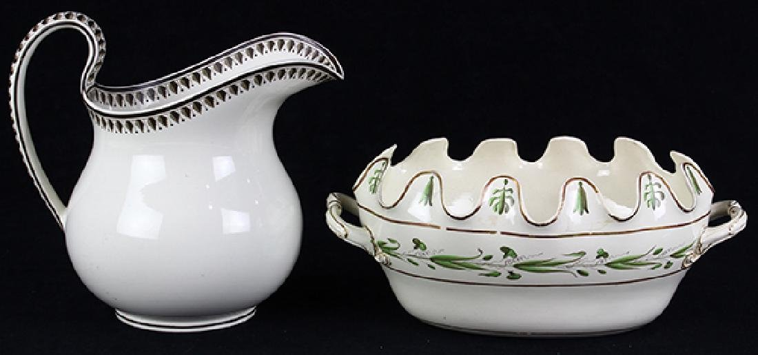 (lot of 2) Wedgwood and Co. creamware monteith