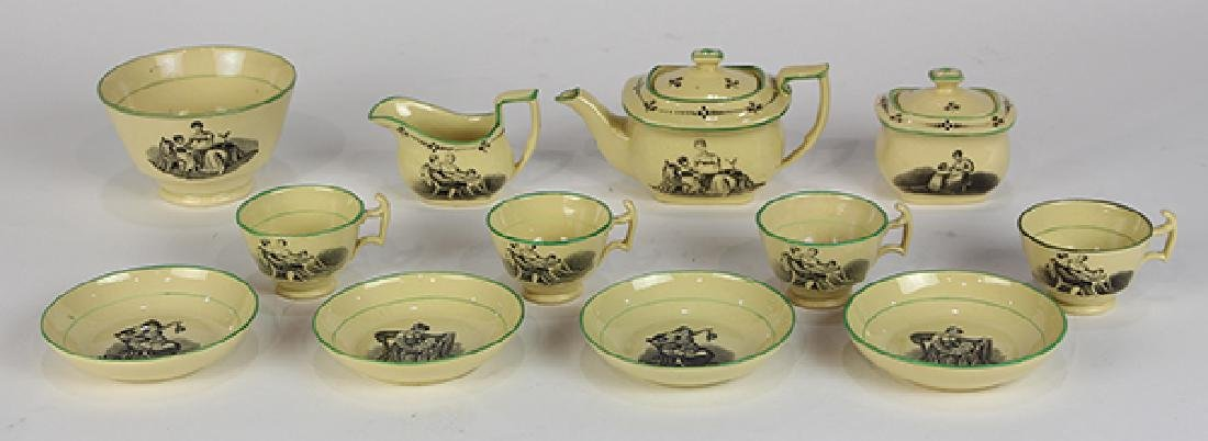 (Lot of 12) English Liverpool miniature creamware tea