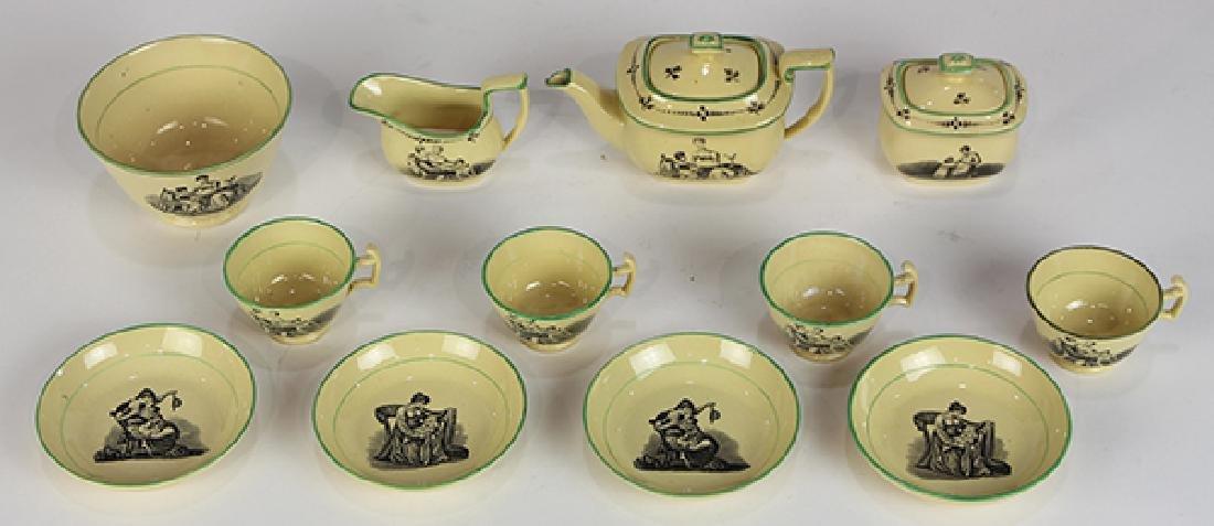 (Lot of 12) English Liverpool miniature creamware tea - 2