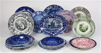 (lot of 17) English scenic decorated blue and white