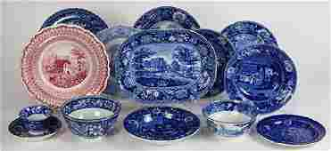 (Lot of 14) English blue transfer ware group, 18th/19th