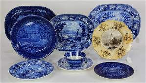 (Lot of 9) English blue transfer ware group