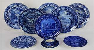 (Lot of 10) English blue transfer ware group