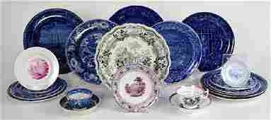 (Lot of 22) English scenic transfer ware group