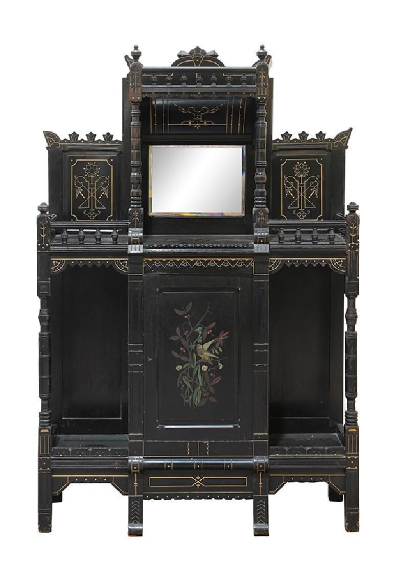 Aesthetic Movement ebonized cabinet circa 1890, the top