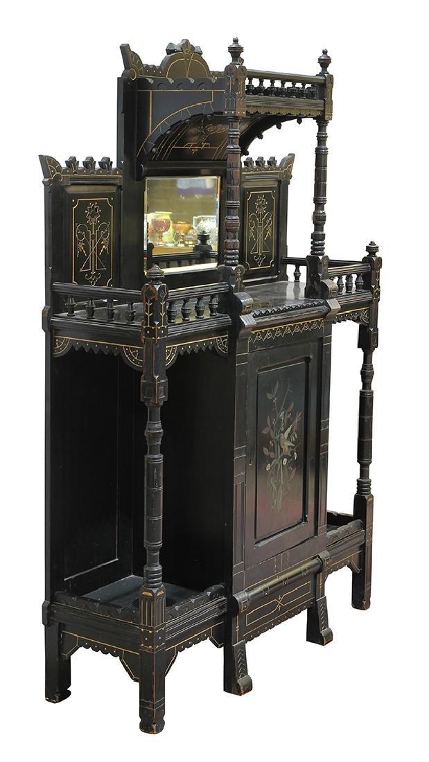 Aesthetic Movement ebonized cabinet circa 1890, the top - 2