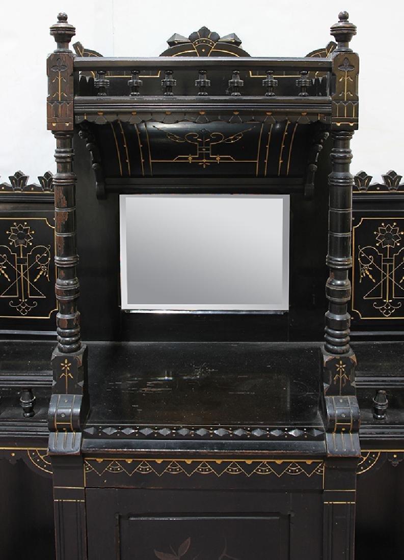 Aesthetic Movement ebonized cabinet circa 1890, the top - 4
