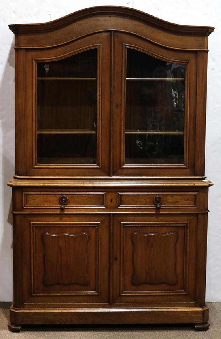 French oak sideboard circa 1860, the arched cornice