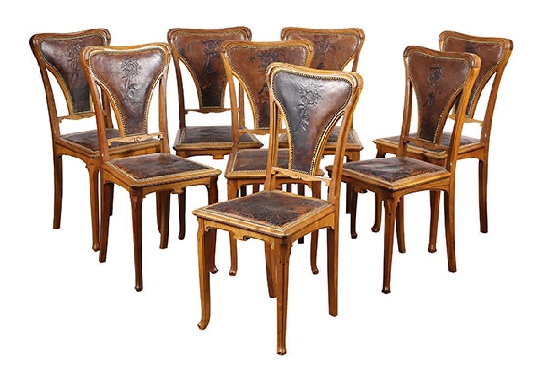 (Lot of 8) Art Nouveau Jugendstil white oak dining