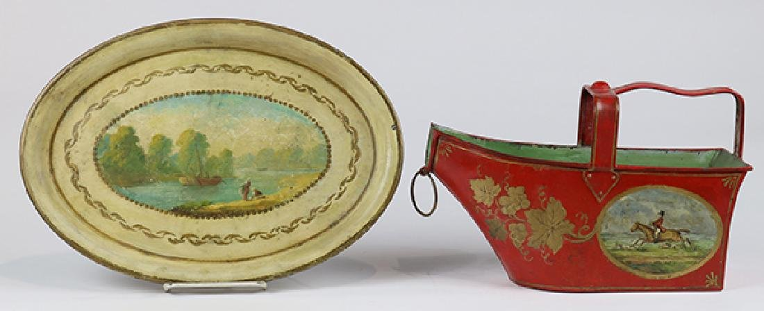 (lot of 2) English tole painted canister and tray