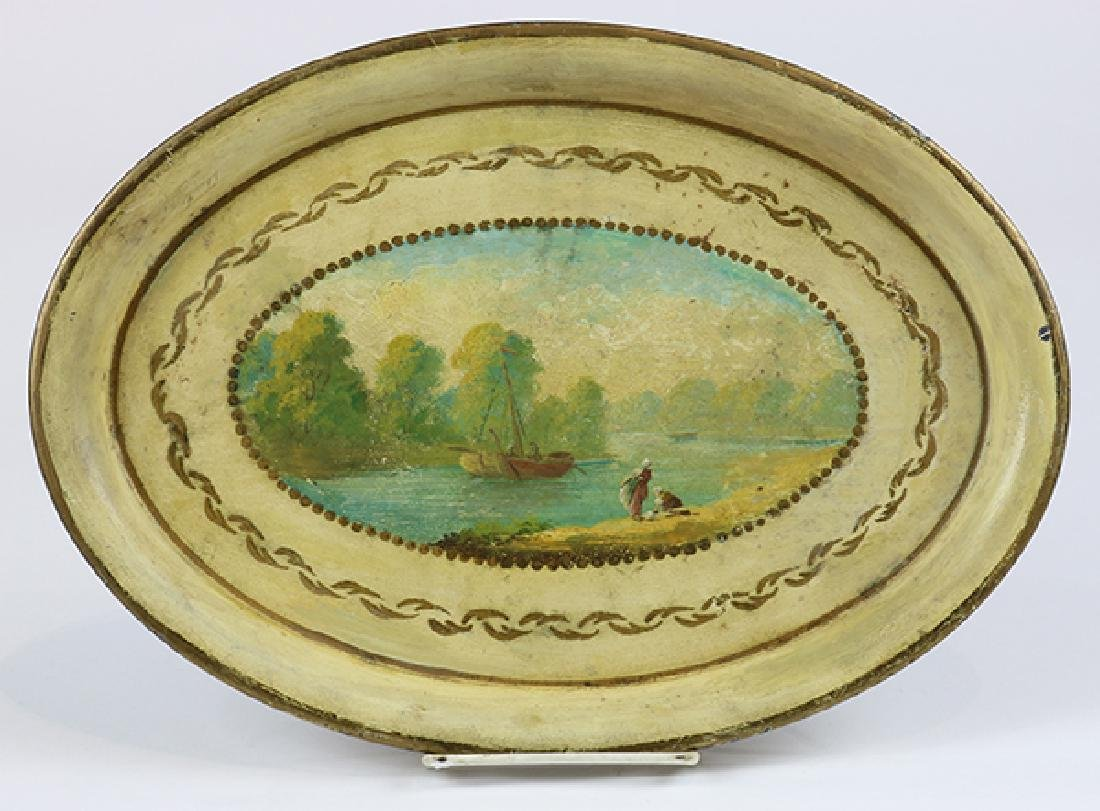(lot of 2) English tole painted canister and tray - 2