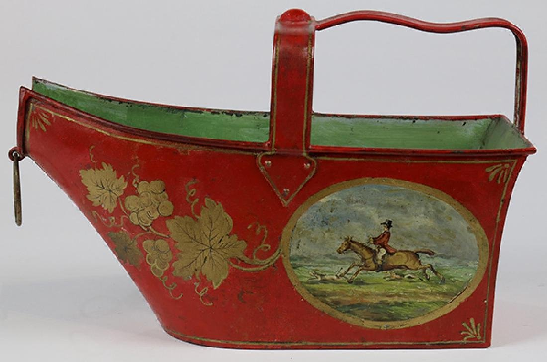 (lot of 2) English tole painted canister and tray - 4