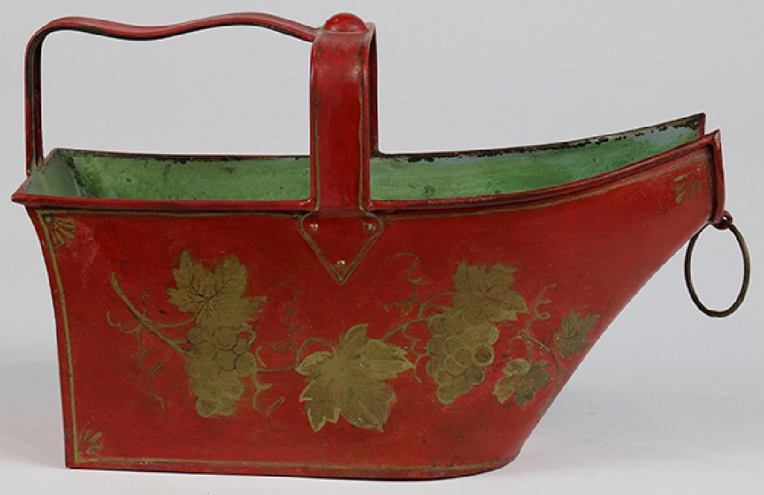 (lot of 2) English tole painted canister and tray - 6