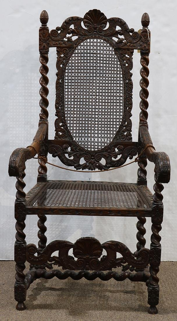 English walnut armchair circa 1680, the highly carved