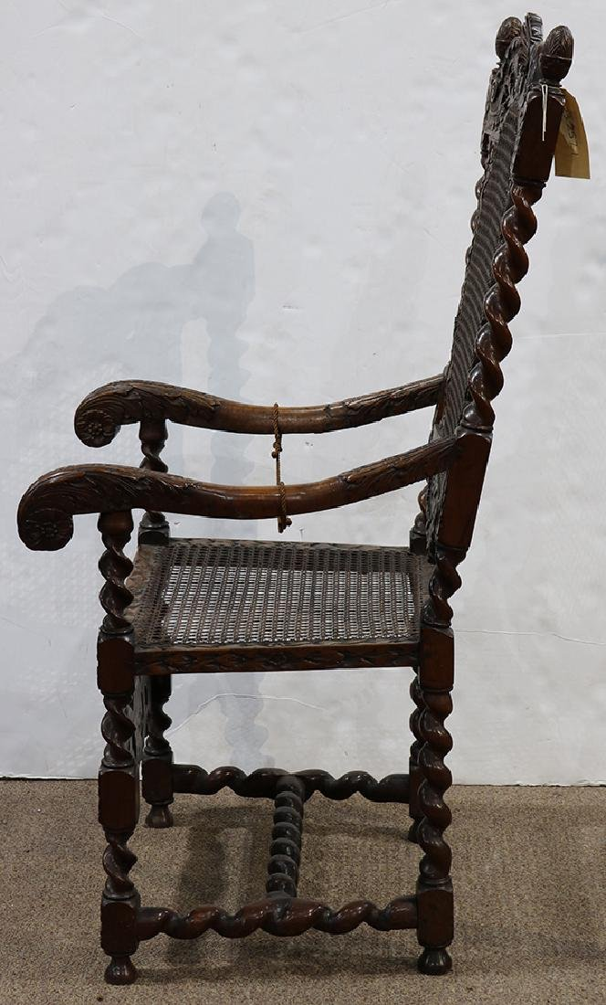 English walnut armchair circa 1680, the highly carved - 4