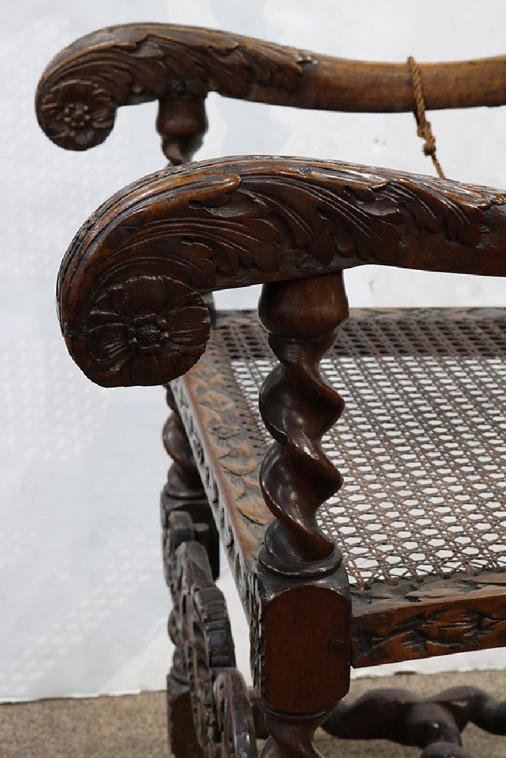 English walnut armchair circa 1680, the highly carved - 5