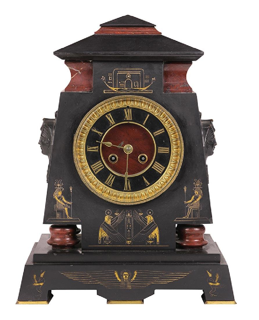 Egyptian Revival marble mantle clock circa 1860