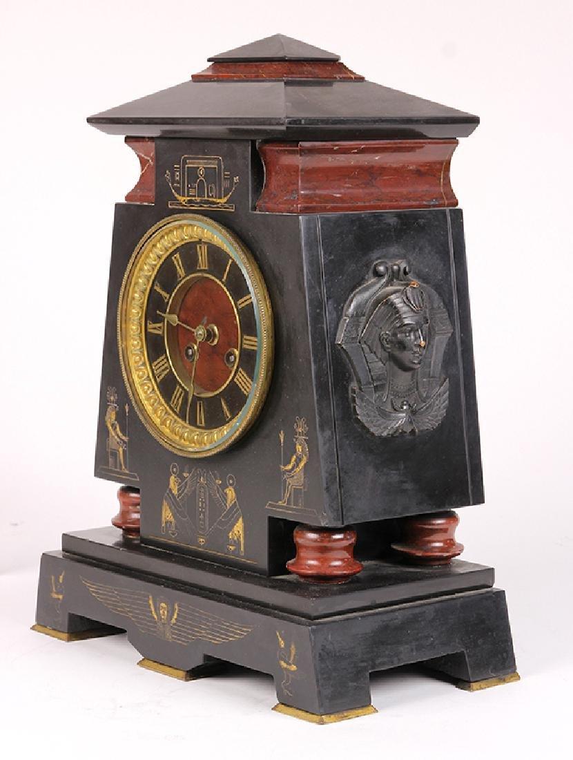 Egyptian Revival marble mantle clock circa 1860 - 2