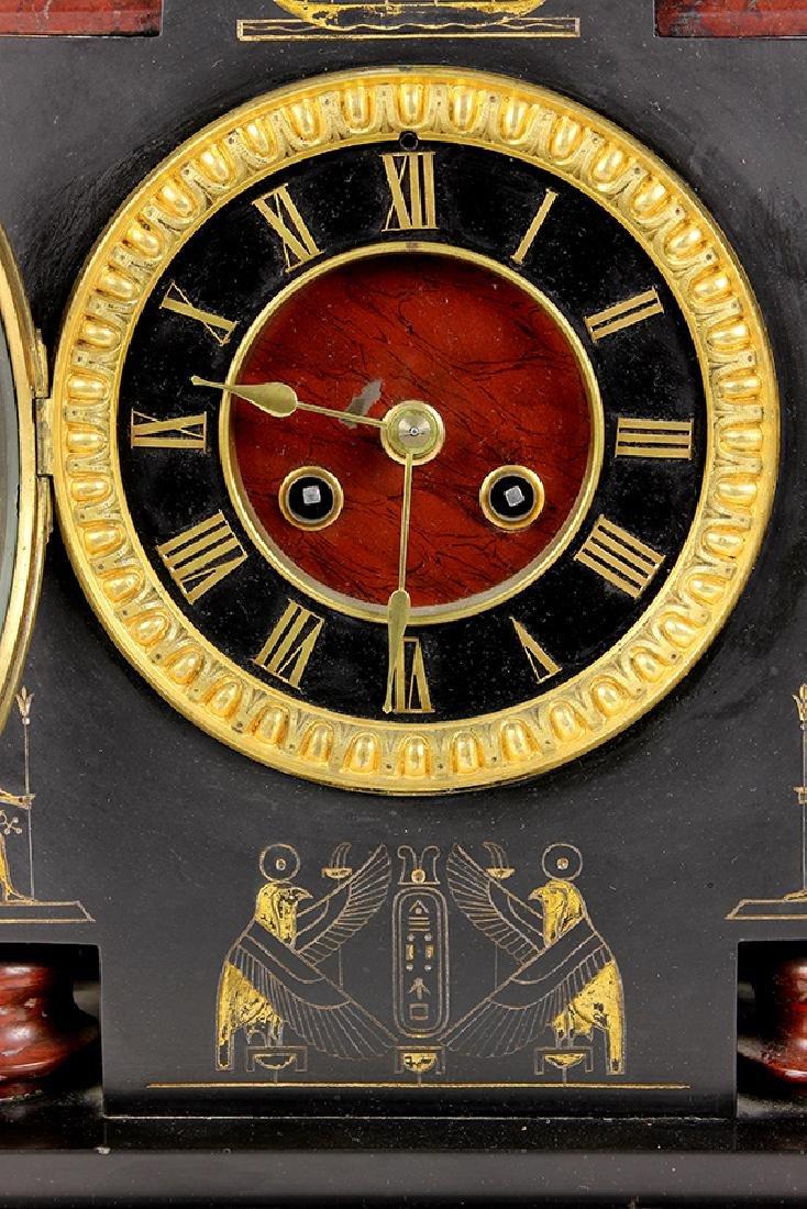 Egyptian Revival marble mantle clock circa 1860 - 7