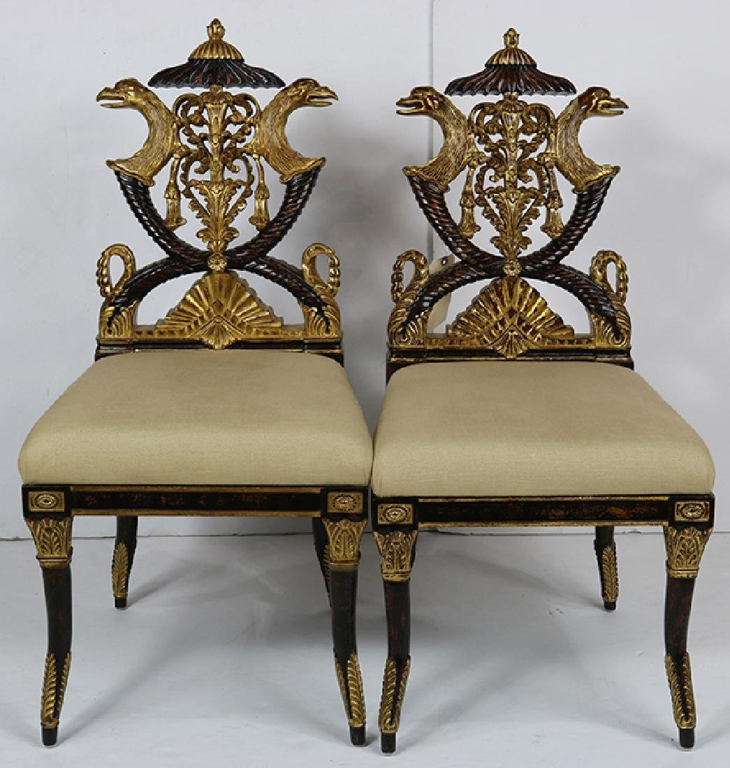 Pair of French Empire style hall chairs