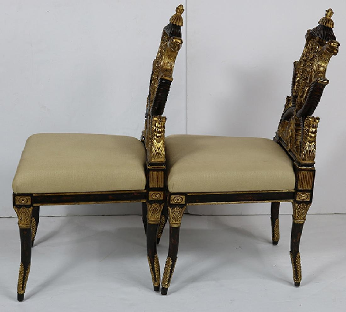 Pair of French Empire style hall chairs - 2