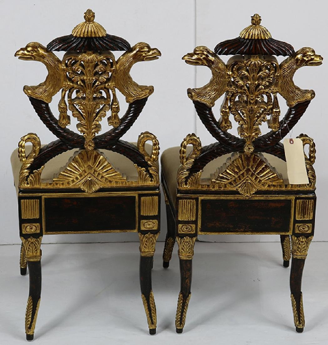 Pair of French Empire style hall chairs - 3