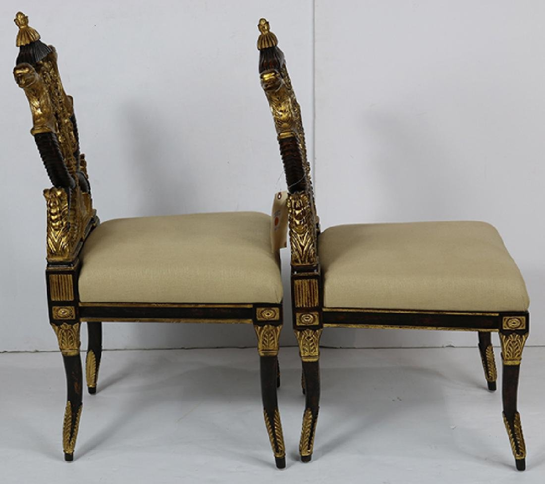Pair of French Empire style hall chairs - 4